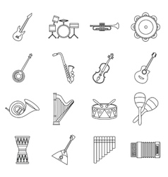 Musical instruments icons set in outline style vector image vector image