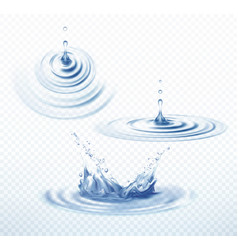 realistic transparent drop and circle ripples set vector image vector image