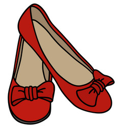 red womens low shoes vector image