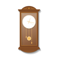 Retro wooden pendulum clock icon vector