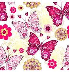 Seamless pattern with vintage butterflies vector