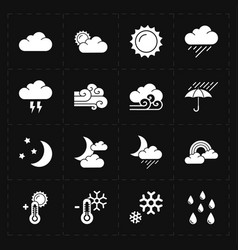 Sixteen flat modern weather icons vector