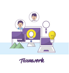teamwork businessmen with computer information and vector image
