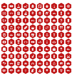 100 tourism icons hexagon red vector