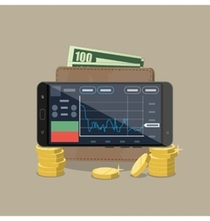 Phone with trading application coins wallet vector