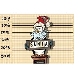Penguin arrested for a santa suit new year and vector