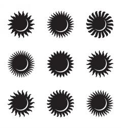 Sun icon set astronomy astrology solar eclipse vector