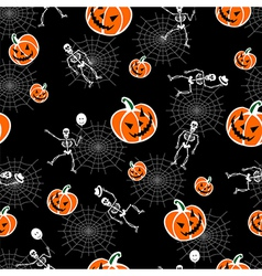 Halloween pumpkins skeleton background vector