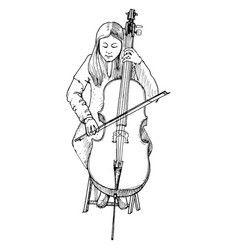 Young girl playing the cello cellist vector