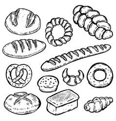 Set of hand drawn bread white bread bun bagel vector
