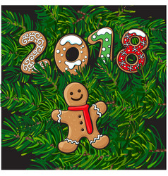 2018 christmas greeting card gingerman cookie vector