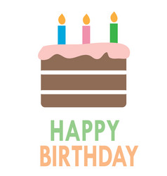 birthday cake icon on white background flat style vector image