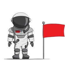 Cartoon astronaut with a flag vector