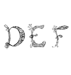 Set with doodle hand written def letters vector