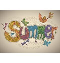 Summer text with flowers dragonflies beetles bird vector