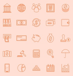 Banking line icons on orange background vector