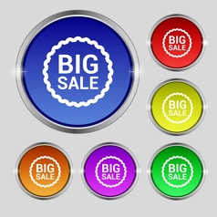 Big sale icon sign round symbol on bright vector