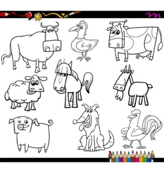 farm animals coloring bookd set vector image