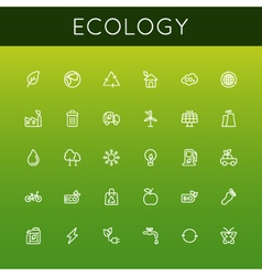 Ecology line icons vector