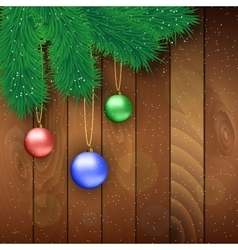 Christmas wooden background with red ball vector