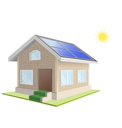 Vacation home solar panels on roof solar power vector
