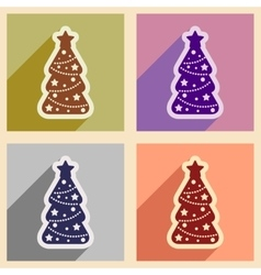 Set of flat icons with long shadow christmas tree vector