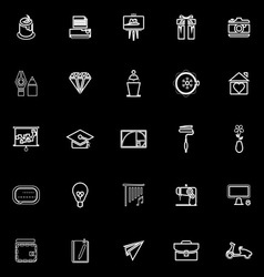 Art and creation line icons on black background vector
