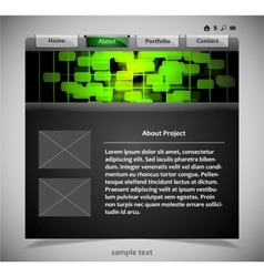 website template in black and green colors vector image