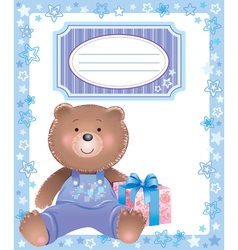 Baby blue frame with little bear vector image