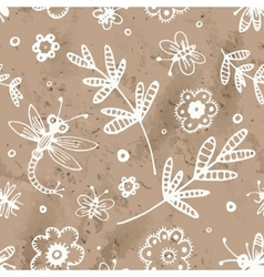 abstract seamless background flowers and insects vector image vector image