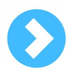 Arrow sign direction icon circle button flat vector