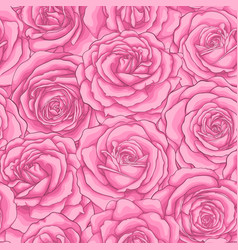 Beautiful vintage seamless pattern with pink roses vector