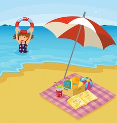 Child at the beach vector