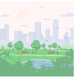 City park on high-rise buildings background vector
