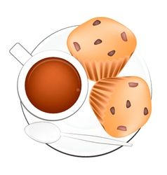Coffee with muffin cakes on white background vector
