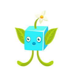 Cute fantastic plant character square shape vector