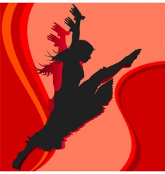 dancing girl in red vector image vector image