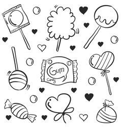 doodle of candy various hand draw collection vector image vector image