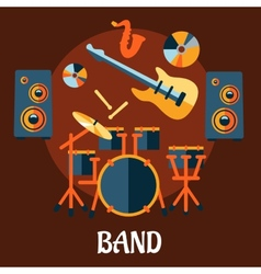 Flat musical band instruments concept vector