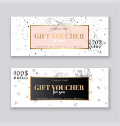 Gift voucher template with gold background vector