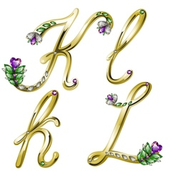Gold alphabet with diamonds and gems letters kl vector