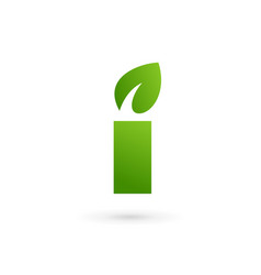 letter i eco leaves logo icon design template vector image vector image