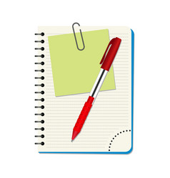 notebook with green notice paper and red pen vector image