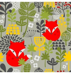Seamless vintage fox and flowers pattern vector