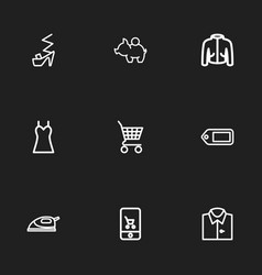 Set of 9 editable shopping outline icons includes vector