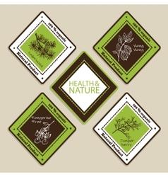 Set of natural organic product badges vector