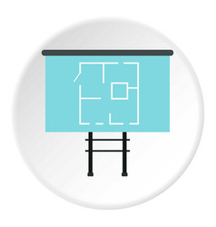 Stand with house project icon flat style vector