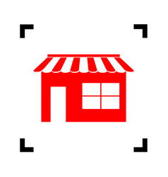 Store sign red icon inside vector