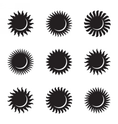 Sun icon set astronomy astrology solar eclipse vector