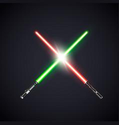 two realistic light swords crossed swords vector image vector image